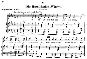 die hochländer - wittwe op.25 no.10, low voice in c minor,  r. schumann (myrten). c.f. peters.