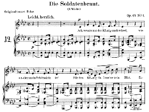 die soldatenbraut op. 64 no.1, low voice in a-flat major,  r. schumann. c.f. peters.