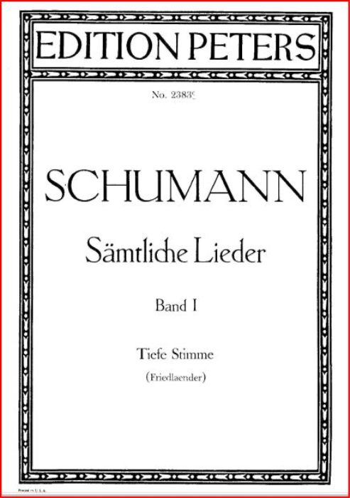 First Additional product image for - Die Stille Op. 39 No.4, Low Voice in F Major,  R. Schumann.  C.F. Peters.