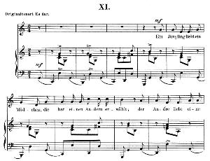 ein jüngling liebt ein mädchen op.48 no.11, low voice in c major,  r. schumann (dichterliebe).  c.f. peters