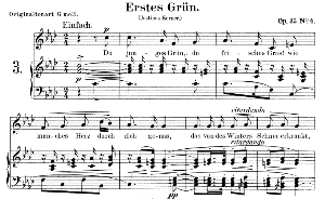 erstes grün op. 35 no.4, low voice in f minor, r. schumann.  c.f. peters.