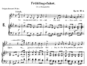 frühlingsfahrt op. 45 no.2, low voice in b flat major, r. schumann. c.f. peters.