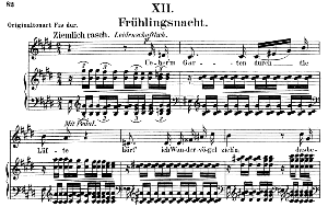 frühlingsnacht op. 39 no.12, low voice in e major, r. schumann. c.f. peters.
