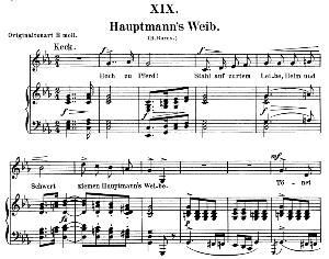 hauptmanns weib op. 25 no.19, low voice in c minor, r. schumann (myrten). c.f. peters.