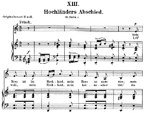 hochländers abschied op.25 no.13, low voice in a minor r. schumann (myrten). c.f. peters.