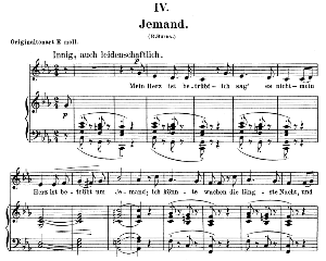 jemand op. 25 no.4, low voice in c minor, r. schumann (myrten).