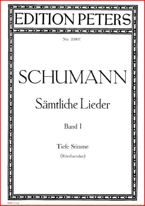 First Additional product image for - Mit Myrten und Rosen Op. 24 No. 9, Low Voice in A Major, R. Schumann (Liederkreis).  C.F. Peters.