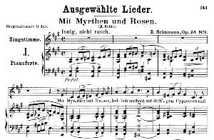 mit myrten und rosen op. 24 no. 9, low voice in a major, r. schumann (liederkreis).  c.f. peters.