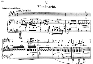 mondnacht op 39 no. 5, low voice in b major, r. schumann (liederkreis). c.f.peters.