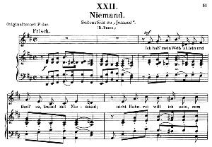 niemand op 25 no. 22, low voice in d major, r. schumann (myrten). c.f. peters.
