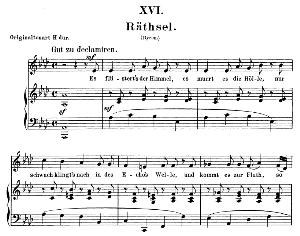 rätsel op 25 no. 16, low voice in a flat major, r. schumann (myrten). c.f. peters