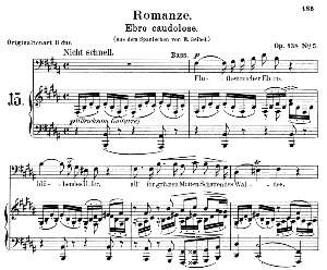 Romanze Ebro caudolose Op 138 No. 5, Low Voice in B Major, R. Schumann. C.F.Peters. | eBooks | Sheet Music