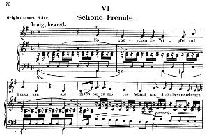 schöne fremde op. 39 no. 6, low voice in g major, r. schumann. c.f. peters.