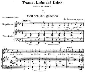 seit ich ihn gesehen op 42 no.1, low voice in a-fat major, r. schumann (frauenliebe und leben). c.f. peters.