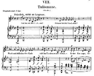 talismane op.25 no.8, low voice in b-flat major, r. schumann (myrten).. c.f. peters.