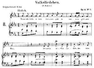 volksliedchen op.51, low voice no.2 in e flat major, r. schumann. c.f. peters.