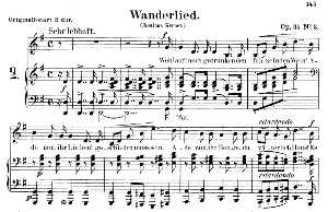 wanderlied op.35 no.3, low voice in g major, r. schumann. c.f. peters.