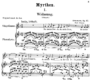 widmung op.25 no.1, low voice in f major, r. schumann (myrthen). c.f. peters.