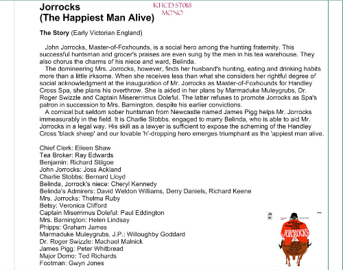 Second Additional product image for - Jorrocks: Original 1966 Cast Recording