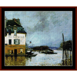 flood at port marly - sisley cross stitch pattern by cross stitch collectibles