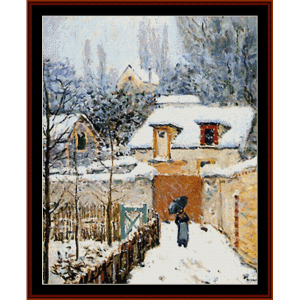 snow at louvecien - sisley cross stitch pattern by cross stitch collectibles