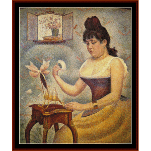 woman powdering - seurat cross stitch pattern by cross stitch collectibles