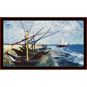 fishing boats on the beach postersize - van gogh cross stitch pattern by cross stitch collectibles