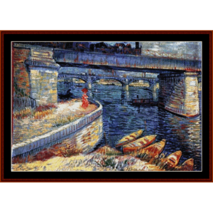 bridge at asnieres - van gogh cross stitch pattern by cross stitch collectibles