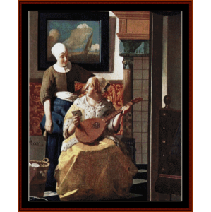 the love letter detail - vermeer cross stitch pattern by cross stitch collectibles