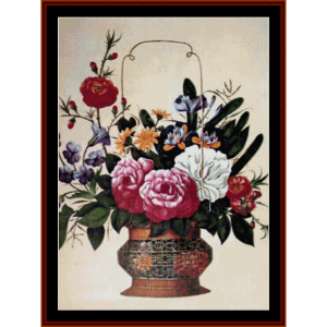 flower arrangement - floral cross stitch pattern by cross stitch collectibles