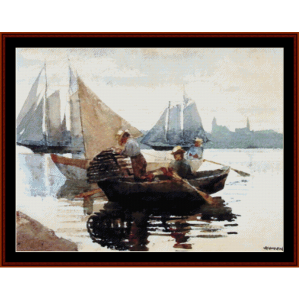 the lobster pot - homer cross stitch pattern by cross stitch collectibles