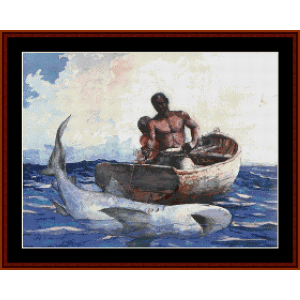 shark fishing - homer cross stitch pattern by cross stitch collectibles