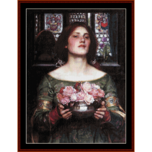 Gather Ye Rosebuds II - Waterhouse cross stitch pattern by Cross Stitch Collectibles | Crafting | Cross-Stitch | Wall Hangings