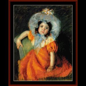 child in orange dress - cassatt cross stitch pattern by cross stitch collectibles