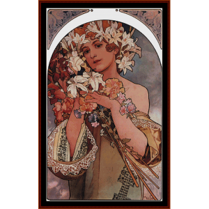 flowers 1896 - mucha cross stitch pattern by cross stitch collectibles