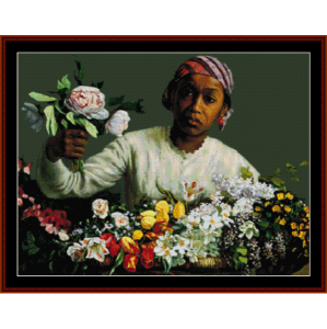 young woman with flowers - bazille cross stitch pattern by cross stitch collectibles
