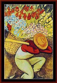 flower seller - rivera cross stitch pattern by cross stitch collectibles