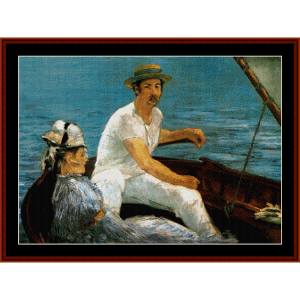 boating party - manet cross stitch pattern by cross stitch collectibles