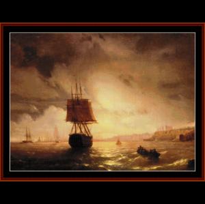 harbor at odessa on black sea - aivazovksy cross stitch pattern by cross stitch collectibles