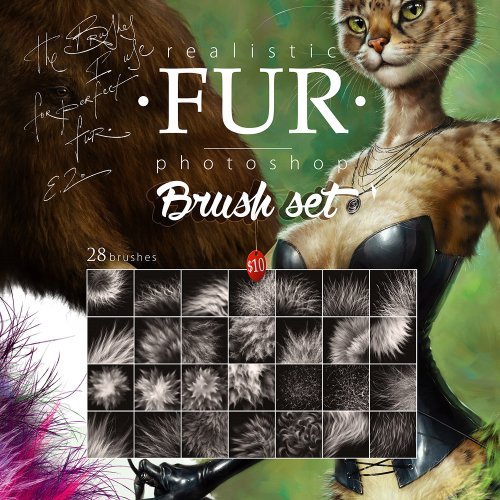 First Additional product image for - Realistic FUR. 28 Brushes for Adobe Photoshop