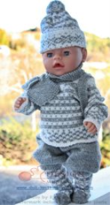 dollknittingpatterns 0014d truls og trine - genser, bukse, strømper, lue, votter, skjerf og ryggsekk-(norsk)