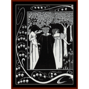 sir lancelot and dame elaine - beardsley cross stitch pattern by cross stitch collectibles