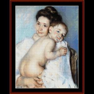 berthe holding her baby - cassatt cross stitch pattern by cross stitch collectibles
