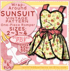 sunsuit: wrap-around one-piece sizes sizes 2, 3 & 4 toddler