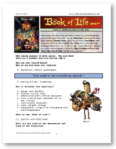 the book of life, whole-movie english (esl) lesson