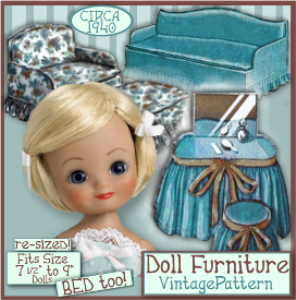 7-9 inch doll furniture e-pattern betsy ginny vintage 1940's