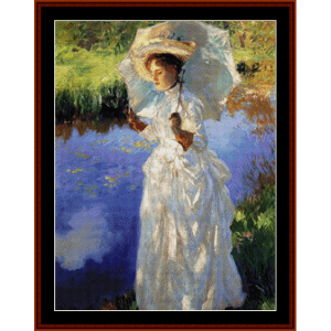 a morning walk - sargent cross stitch pattern by cross stitch collectibles