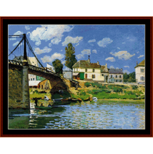bridge at villenuve-lagaren - sisley cross stitch pattern by cross stitch collectibles