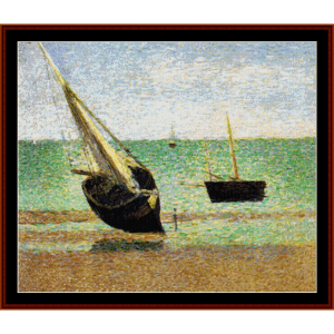 Boats at Low Tide - Seurat cross stitch pattern by Cross Stitch Collectibles | Crafting | Cross-Stitch | Wall Hangings