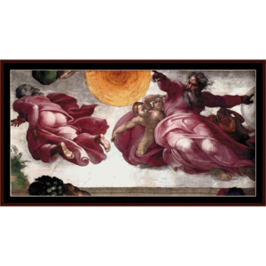 creation of sun moon and planets - michelangelo cross stitch pattern by cross stitch collectibles